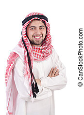 araber, weißes, junger, hintergrund, freigestellt