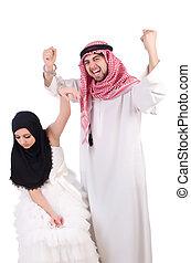 araber, weißes, seine, mann, ehefrau