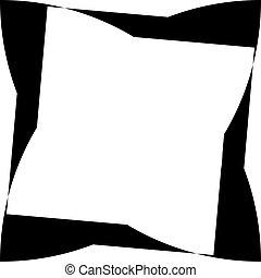 arabesco, cornice, illusione, sfondo nero, distorto, astratto, trasparente
