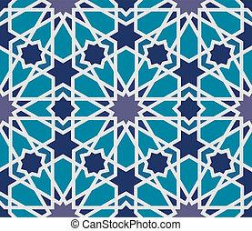 arabesco, seamless, padrão, em, azul, e, cinzento