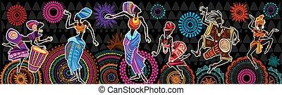 arabescos, pessoas, étnico, dançar, africano, fundo