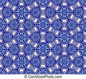 arabesk, vit, seamless, blå