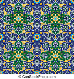 Arabesque seamless pattern in blue and green