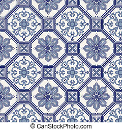 Arabesque seamless pattern in blue and grey in editable...