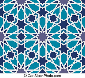 Arabesque seamless pattern in blue and grey in editable vector file