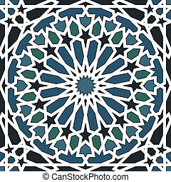 Arabesque seamless pattern in blue and black in editable...
