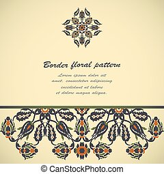Arabesque vintage border elegant floral decoration print for design template vector. Oriental flowers style pattern. Ornamental illustration for invitation, greeting card, copy space