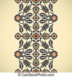 Arabesque vintage seamless border elegant floral decoration print for design template vector. Oriental flowers style pattern. Ornamental illustration for invitation, greeting card, copy space