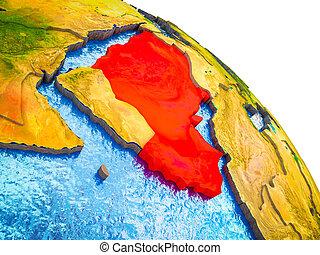 arabië, kaart, 3d, aarde