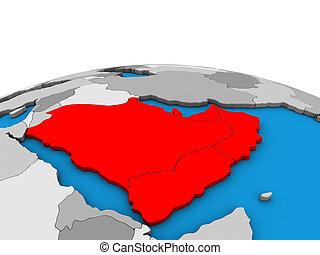 arabië, kaart, globe, 3d