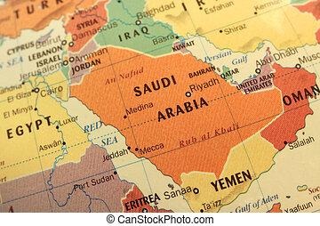arabia, mapa, globo, saudí