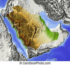 arabia, protegidode la luz, alivio, saudí, mapa