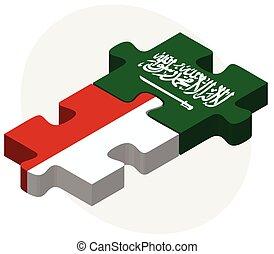 arabia, rompecabezas, indonesia, banderas, saudí