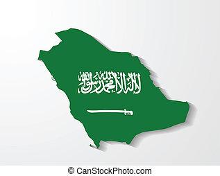 arabia, térkép, árnyék, hatás, szaudi