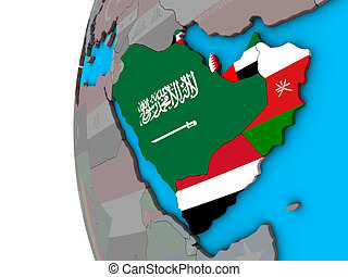 Arabia with flags on 3D globe