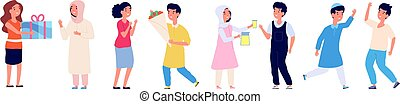 Arabian and european kids good manners. Different nationality children gift present and flowers, high five. International friendship vector illustration