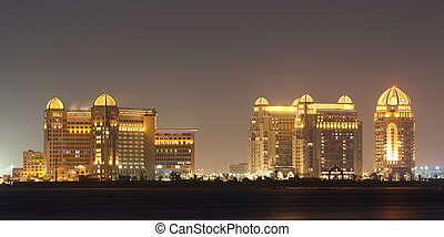Arabian architecture in Doha at night. Qatar, Middle East