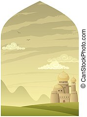 Arabian background with cartoon castle and copy space.