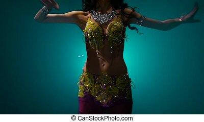 Arabian belly dancer in exotic dance. Smoke background. Slow...
