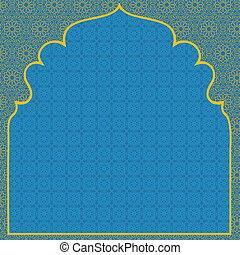 Arabian blue background with net yellow pattern