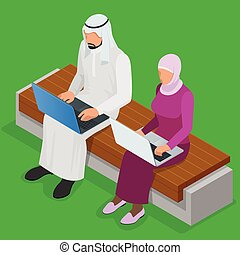Arabian business man working on Laptop. Arab businesswoman hijab working at a laptop. Vector flat 3d isometric illustration.