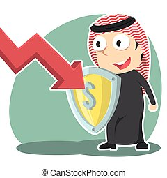 Arabian businessman blocking down graph with shield