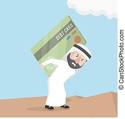 arabian businessman carrying a larg