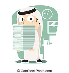 Arabian businessman carrying pile of paper