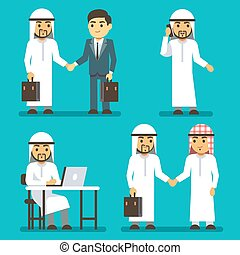 Arabian businessman characters at work in office vector saudi people set