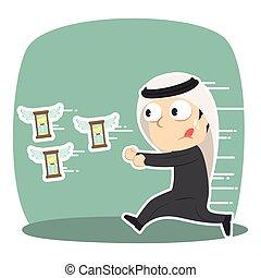 Arabian businessman chasing flying hourglass