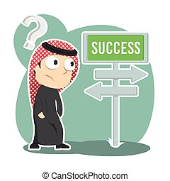 Arabian businessman confuse with success road direction