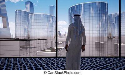 Arabian businessman contemplating next big business deal video