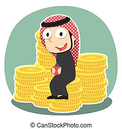 Arabian businessman drinking coffee on coins