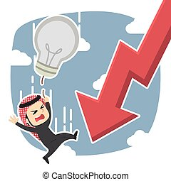 Arabian businessman fall along with his idea and graphic