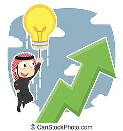 Arabian businessman fly with his idea and see upward graphic