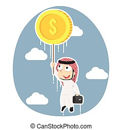 Arabian businessman flying with coin