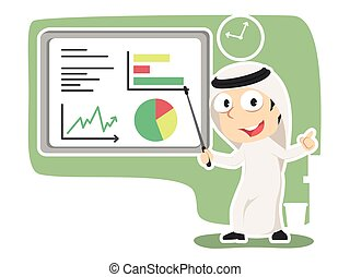Arabian businessman giving presentation