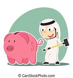 Arabian businessman going to break piggy bank