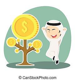 Arabian businessman happy his coin tree grow