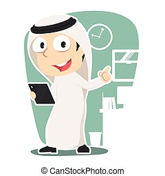 Arabian businessman holding tablet