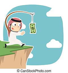 Arabian businessman is chasing money on cliff