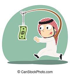 Arabian businessman is chasing money