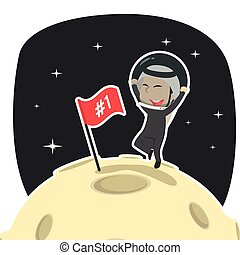 Arabian businessman is putting flag on moon