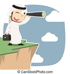 Arabian businessman looking through monocular on cliff
