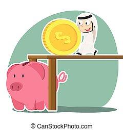 Arabian businessman pushing big coin into piggy bank