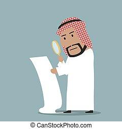 Arabian businessman reading big contract