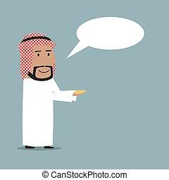 Arabian businessman received money with speech bubble