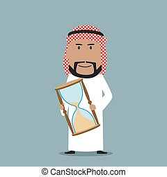 Arabian businessman with time out hourglass
