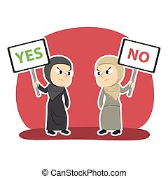 Arabian businesswoman arguing using yes and no sign