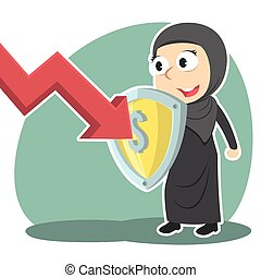 Arabian businesswoman blocking down graph with shield